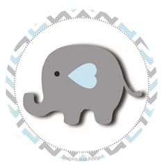 Baby Elephant in Grey and Pink Chevron: Free Printable Boxes and Free Party Printables.