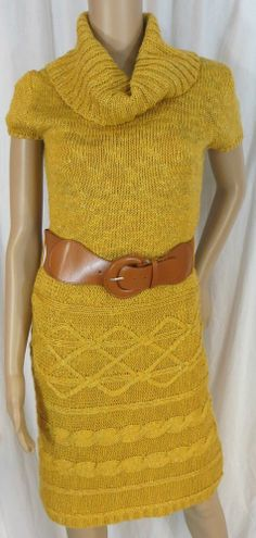 "NEW w/TAGS ""MAURICES"" YELLOW GOLD LINED SWEATER DRESS - PLEASE SEE ALL PICTURES"