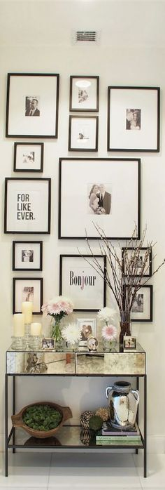 A small space should use light colors that give the feeling of spaciousness with your entryway wall decor. ---------- #entryway #decor #gallery #wall #picture #frames #diy