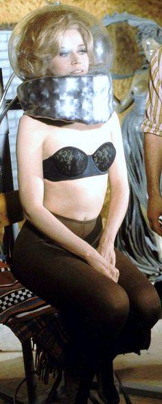 Jane Fonda on the set of Barbarella (1968) #sexy #exploitation#girls