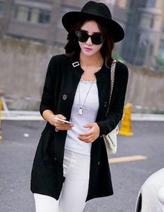 Áo khoác len form dài màu đen - B3340
