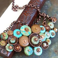 Necklace Southwest Turquoise Buttons with Antiqued by lunedesigns