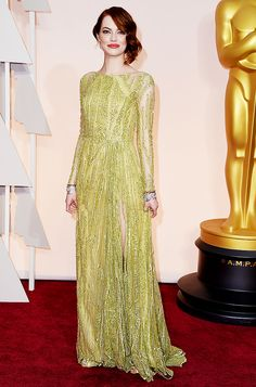 Emma Stone in a green Elie Saab beaded gown embroidered at the 2015 Oscars