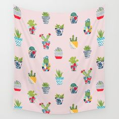 Funny cacti illustration Wall Tapestry. #drawing #digital #humor #cacti #cactuses #cactus #flowers #tropical #cute #cartoon