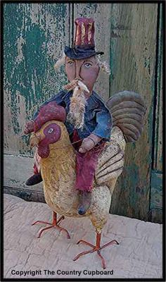 Americana Primitive Uncle Sam Riding A Rooster Craft Pattern Home Decor   eBay