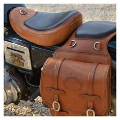handmade saddlebags and custom made seat from full grain saddle leather. Motorcycle Seats, Bobber Motorcycle, Motorcycle Leather, Saddle Leather, Vintage Motorcycle Parts, Motorcycle Accessories, Leather Accessories, Scooter Moto, Velo Retro