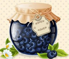 Buy Blueberry Jam Glass by macrovector on GraphicRiver. Natural organic homemade forest blueberry jam in glass with tag and paper cover vector illustration. Organic Homemade, Jar Design, Blueberry Jam, Blueberry Breakfast, Jam And Jelly, Food Drawing, Kitchen Art, Food Illustrations, Cute Food