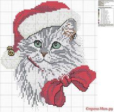 ~~ ♥~~ Cat cross stitch ~~ ♥~~ Holiday Kitty