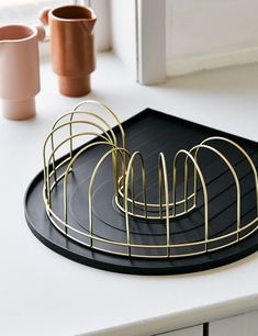Black Rainbow Dish Tray with Brass Drainer Home Accessories Stores, Kitchen Accessories, Pink Dishes, Dish Drainers, The Dish, Contemporary Furniture, Interior Inspiration, Tray, Rainbows