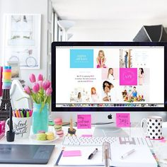 White with pops of color desk space lovin' (scheduled via http://www.tailwindapp.com?utm_source=pinterest&utm_medium=twpin)