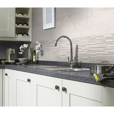 Wickes battersea splitface white ceramic wall tile for Wickes kitchen wall cabinets