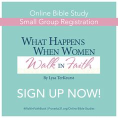Do you know about a special, but limited-space, opportunity we have for our Facebook users? P31 Online Bible Studies has smalls groups on Facebook! If you are already signed up for the #WalkInFaith #P31OBS with us, that, along with the book will provide you with all you need to participate in this study. But maybe you want a little bit more? || click here to learn more about the small group option and to sign up: http://proverbs31.org/online-bible-studies/2015/04/02/welcome-to-walkinfaith