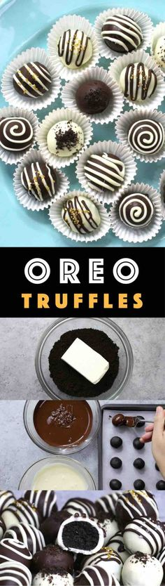 4 Ingredient Oreo Truffles - the easiest and most beautiful dessert you will ever make! Only 4 ingredients required: Oreos, cream cheese, white chocolate and dark semi-sweet chocolate. Sprinkles are optional. Oreo crumbs are mixed with creamy cheesecake, and then covered with melted chocolate. So Good! Quick and easy recipe, party desserts. No Bake. Vegetarian. Video recipe. | Tipbuzz.com