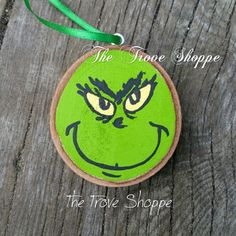 Items similar to Grinch wood slice ornament - hand painted Christmas ornament on Etsy Grinch Ornaments, Painted Christmas Ornaments, Hand Painted Ornaments, Wood Ornaments, Ornaments Image, Grinch Christmas, Christmas Wood, Beach Christmas, Wood Slice Crafts