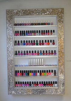 Do it yourself homemade nail polish rackstand tutorial make up mosaic mirror framed display rack for beauty products will hold approx 85 95 bottles nail polish standmirror solutioingenieria Gallery