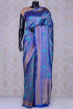 Ink blue mesmeric banarasi silk saree with dull gold border-SR20306 - Pure Banarasi - PURE HANDLOOM SILK SAREE - Sarees