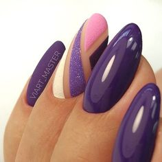 In search for some nail designs and ideas for the nails? Here's our list of 28 must-try coffin acrylic nails for trendy women. Hair And Nails, My Nails, Trendy Nail Art, Nail Swag, Purple Nails, Purple Glitter, Super Nails, Beautiful Nail Art, Creative Nails