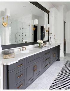 Dark gray bathroom, black vanity bathroom, mint bathroom, bathroom bin, g. Dark Gray Bathroom, Black Vanity Bathroom, Master Bath Vanity, Small Bathroom, Modern Bathroom, Bathroom Bin, Bathroom Mirrors, Budget Bathroom, Gray Vanity