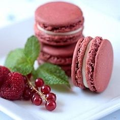 Macarons filled with raspberry and redcurrant jelly and cream cheese buttercream.