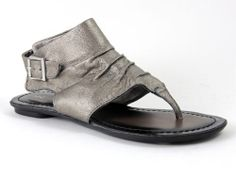 Nine West Women's Shoes HUNKY-D4 Pewter Leather Flat Thong Ankle Sandals Sz. 6.5