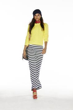 POLO Women Spring 2015 collection: Yellow cotton sweater, navy/white stripe cotton skirt, paint splatter denim messenger, and red calfskin platform sandal