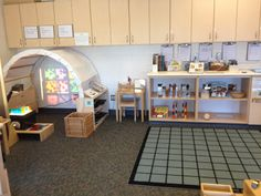Arch creates a nice oneor two person space. Here it is a space for the overhead projector and light work. Transforming our Learning Environment into a Space of Possibilities: On Display: Havergal College Classroom Layout, Classroom Organisation, Classroom Setting, Classroom Design, Kindergarten Classroom, Future Classroom, Classroom Decor, Eyfs Classroom, Classroom Management