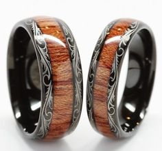 Wolfraam bruiloft Band, bruiloft Band Set Matching, zijn haar bruiloft Ring, houten Inlay, 8MM / 6MM, wolfraamcarbide