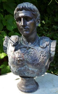 Caesar Roman classical bust a magnificent bust of the emperor Caesar in armour, hand cast at our workshops in Sussex in frost proof