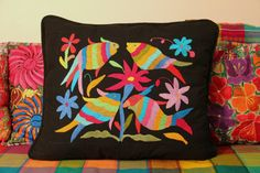 FISH Multi Colored Otomi Pillow Sham Piece with black framing-Ready to ship