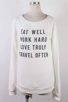 Eat Well Sweater Hard To Love, Modest Outfits, Sweater Shirt, Eating Well, Love Life, Graphic Sweatshirt, Wellness, Sweatshirts, My Style