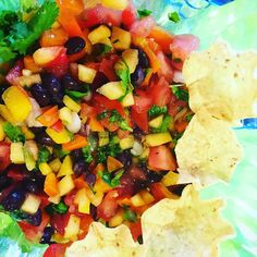 Easy Peach Summer Salsa  #healthyfood  One of the beauties of summertime is the availability of fresh fruits and vegetables.  This salsa is made with a few simple ingredients:  1 Peach 1/2 a large tomato small handful of fresh onions ( less than 1/6 cup) a handful of fresh cilantro lime juice from a fresh lime 1/3 cup of corn 1/3 cup of bell peppers salt and pepper to taste 1/2 jalapeño pepper (seeds removed) or add to taste.  Chop and mix ingredients together.  #weightlossjourney…