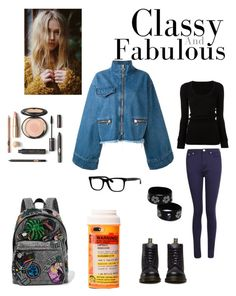 """""""Go to school"""" by marizoy on Polyvore featuring Boohoo, DRKSHDW, Marques'Almeida, Dr. Martens, Bobbi Brown Cosmetics, Marc Jacobs and Moschino"""