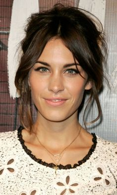 Festival Hairstyle: Alexa Chung's Messy Updo And Parted Fringe Hairstyle, 2010