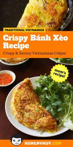 Vietnamese Crepes, Vegetarian Vietnamese, Vietnamese Cuisine, Vegetarian Recipes, Cooking Recipes, Healthy Recipes, Vietnamese Banh Xeo Recipe, Healthy Vietnamese Recipes, Veggie Recipes
