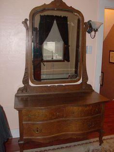 Antique Tiger Oak Serpentine Princess Dresser Dressing Vanity | eBay