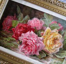 c1902 Antique Victorian ROSES Print Paul de Longpre c1902 Sweet Tokens Bumblebees Chromo 1/2 Yard Long