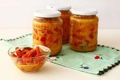reteta gogosari in sos de mustar Canning Pickles, Salt And Pepper, Preserves, Stuffed Peppers, Homemade, Vegetables, Bun Bun, Sauces, Canning