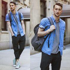 Sleeve Action (by Marcel Floruss) http://lookbook.nu/look/4773293-Diesel-Checkered-Pants-Topman-Shortsleeve-Denim