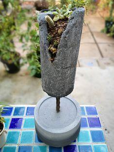 Handmade concrete planter for cascading succulents Concrete Planters, The Creator, Succulents, Creative, Outdoor Decor, Handmade, Hand Made, Succulent Plants, Cement Planters