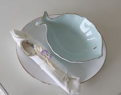 Light blue fish bowl with plate...love it