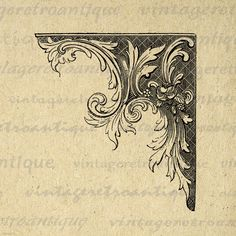 Printable Image Elegant Corner Element by VintageRetroAntique