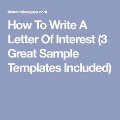 Free Letter Of Interest Templates  Sample Interview Thank You