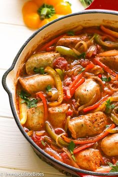 Sausage and Peppers – a classic Italian American street-food and dish that is . Pork Recipes, Cooking Recipes, Healthy Recipes, Recipes Using Sausages, Healthy Cooking, Sausage Peppers And Onions, Stuffed Peppers, Italian Sausage Recipes, Italian Sausages