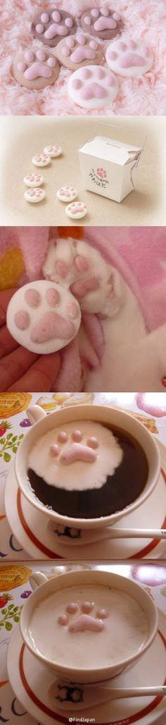 mais alors là ... y'a pas moyen ... je DOIS en faire !!   I love Kawaii: Cute Cat Paw Marshmallow