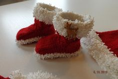 (6) Name: 'Knitting : Baby Santa Booties Knitting Pattern...free pattern