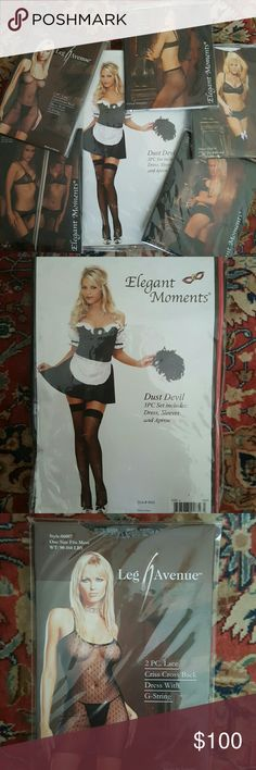 New 10 Piece Lingerie-Playwear-Hosiery- Bundle Packaged items-Elegant Moments & Leg Avenue Sexy Maid, Dress, Thigh Hi's, Fishnets, Garter Belt & accessories. -Maid Costume Large comes with Dress, Sleeves and Apron -One Size Fits Most Black Lace Criss Cross Back Dress with G-String -Black Garter Belt -Nude like Yellow Sheer Thigh Hi-One Size -White Opague Thigh Hi with Chiffon Ruffle and Satin Bow-One Size -White Fishnet Pantyhose-One Size -Black Thigh Hi with a Bow and Lace Trim-One Size…