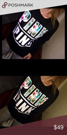 NWT tropical crew sz S NWT small PINK Victoria's Secret Tops Sweatshirts & Hoodies