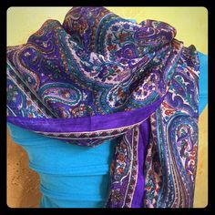 Purple Scarf Brand New - Silky purple and blue scarf from India.  Lovely and versatile.  Perfect as a gift or to wear to your holiday party. Accessories Scarves & Wraps