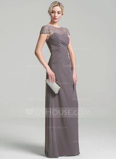 Tubo Decote redondo Longos Tecido de seda Vestido para a mãe da noiva com  Pregueado 1a7b758506a