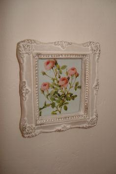 """Miniature Framed """" shabby flowers"""""""